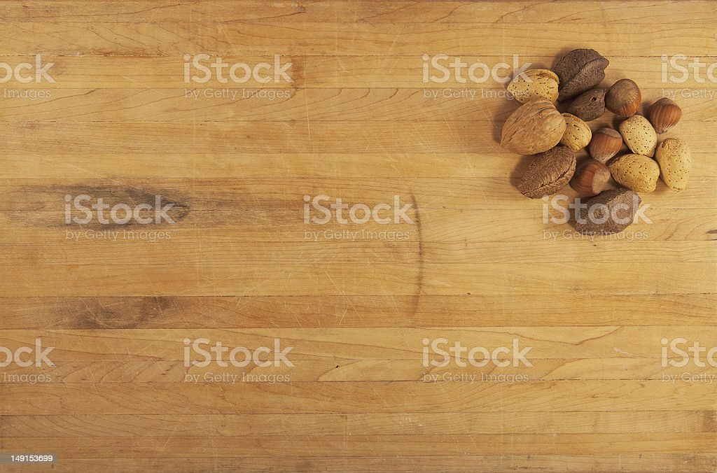 Mixed Nuts on Butcher Block stock photo