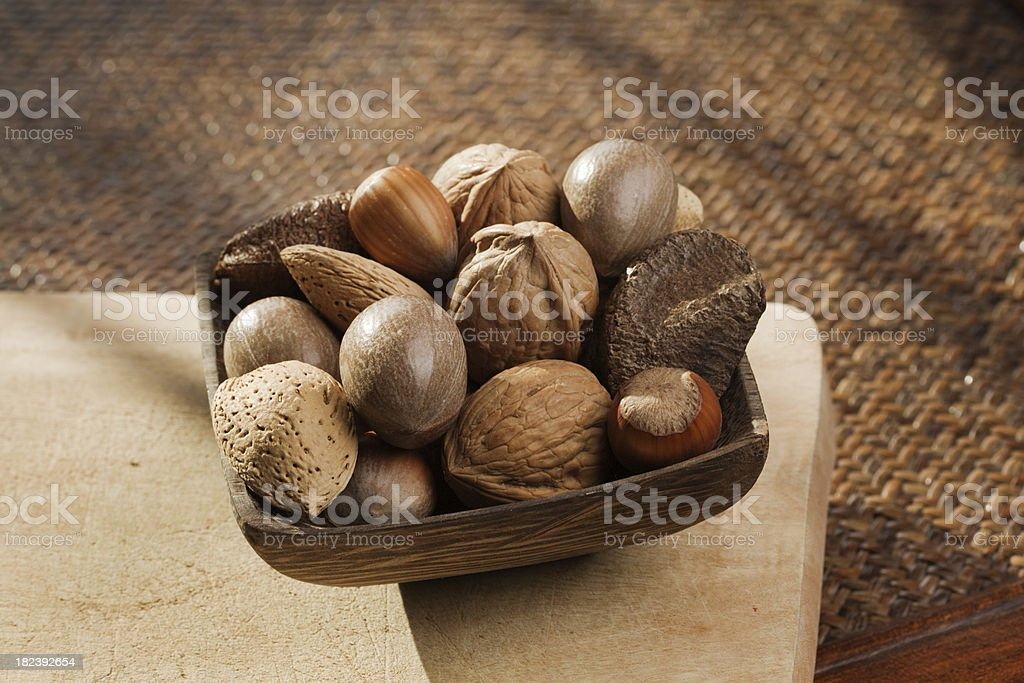 Mixed Nuts with Shell in Bowl Hz royalty-free stock photo
