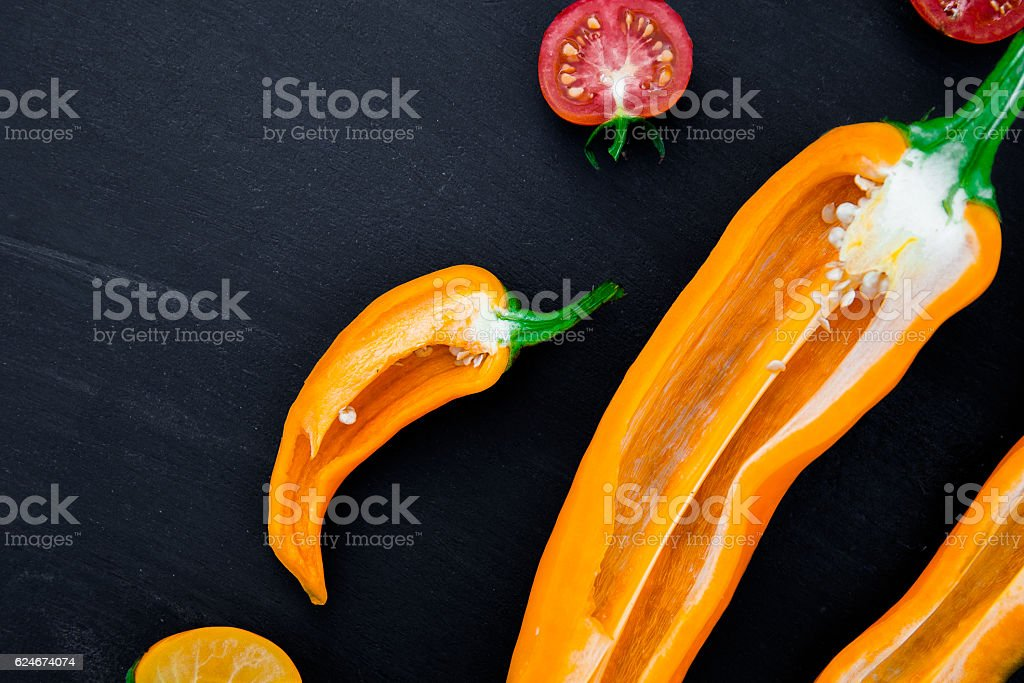 Mixed of half red and yellow pepper stock photo