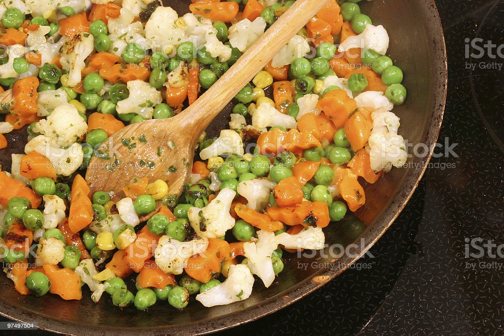 mixed pan vegetables stock photo
