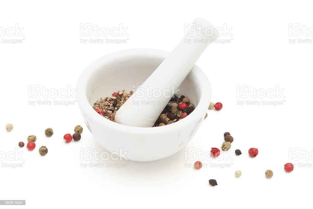 Mixed peppercorns and mortar. stock photo