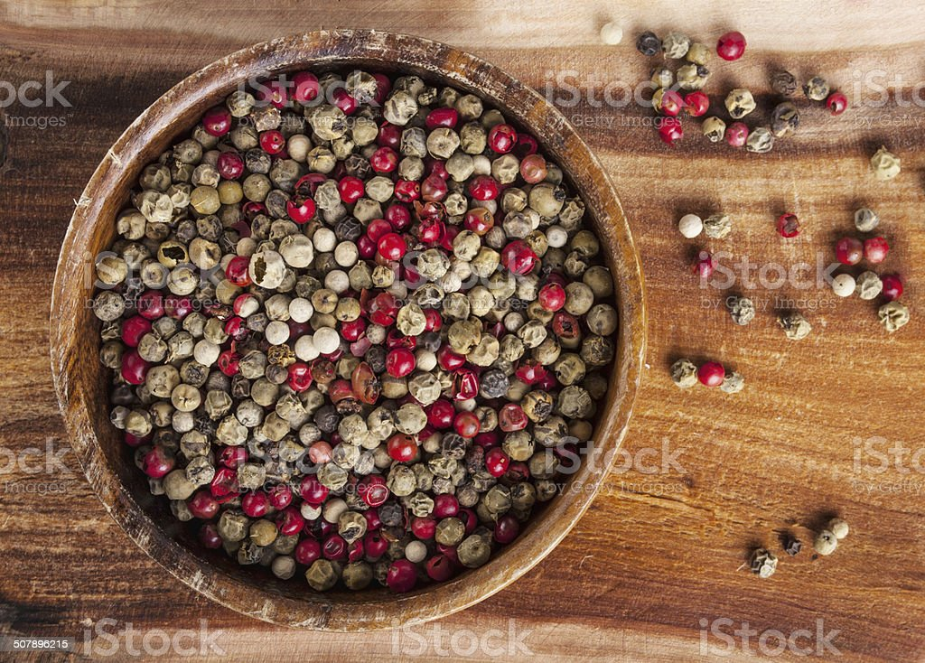 Mixed peppercorns - food spicy background stock photo