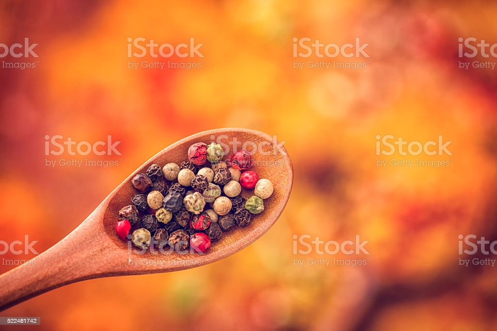 Mixed Peppercorns on a Spoon stock photo