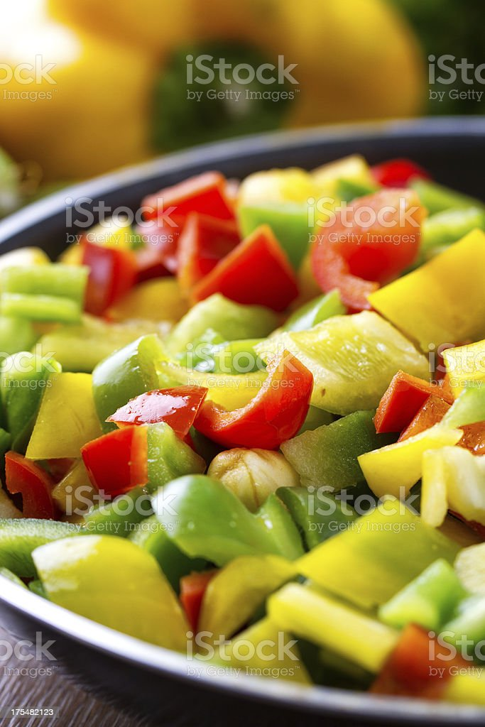 Mixed peppers in a pan royalty-free stock photo