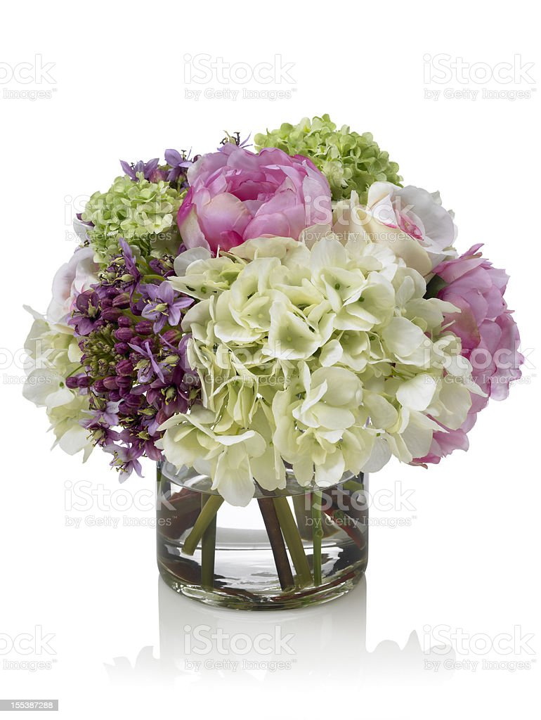 Mixed pink and white Spring garden bouquet on white background stock photo