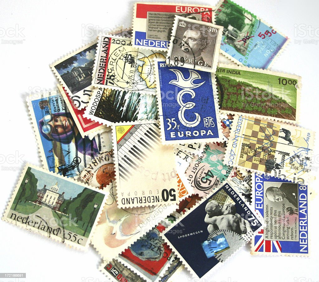 Mixed Postage Stamps royalty-free stock photo