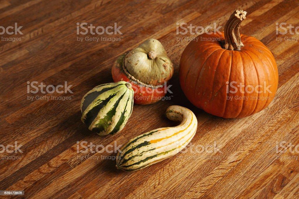 Mixed pumpkins set stock photo