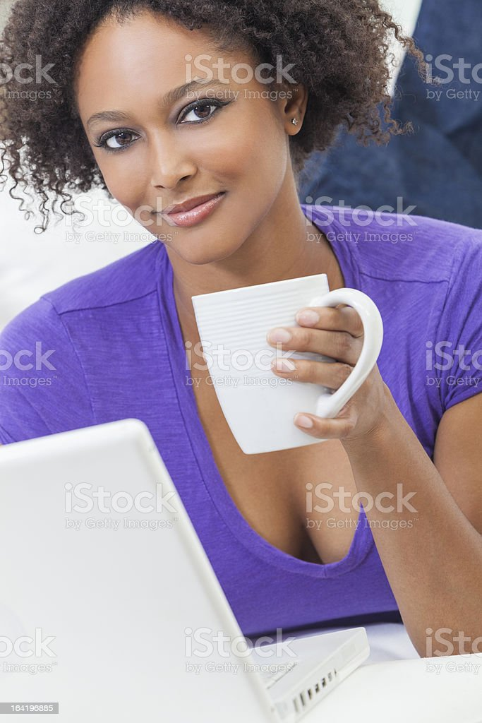 Mixed Race African American Girl Using Laptop Computer royalty-free stock photo