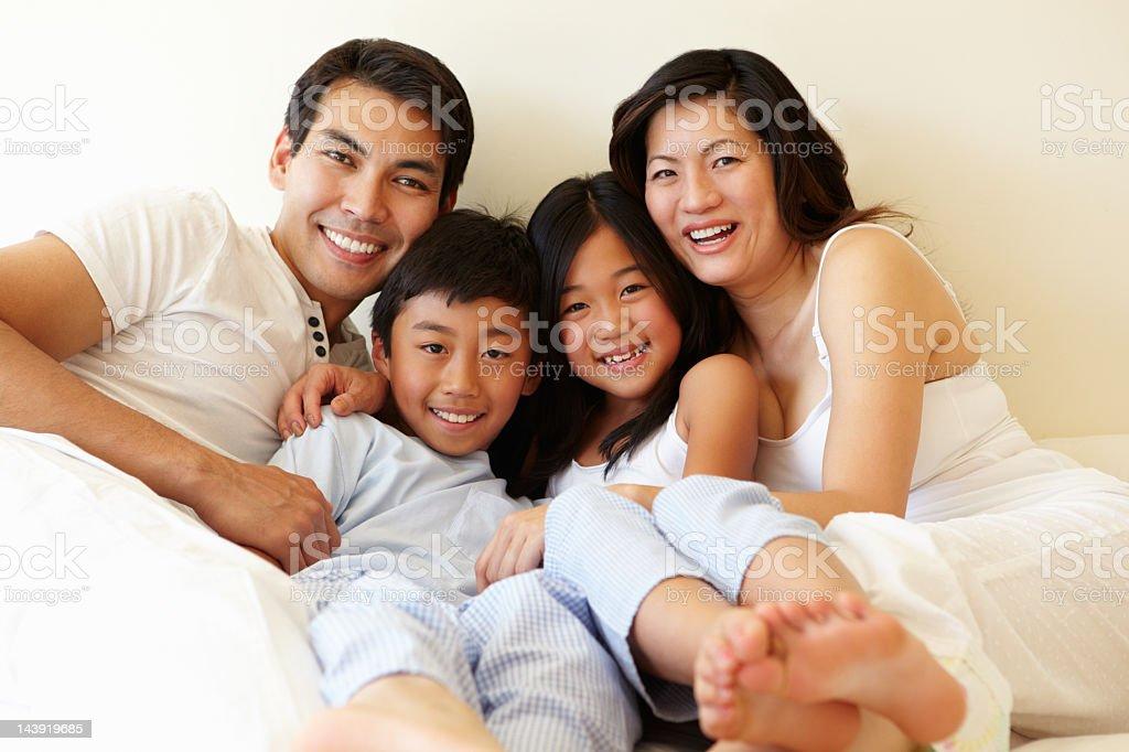 Mixed race Asian family stock photo