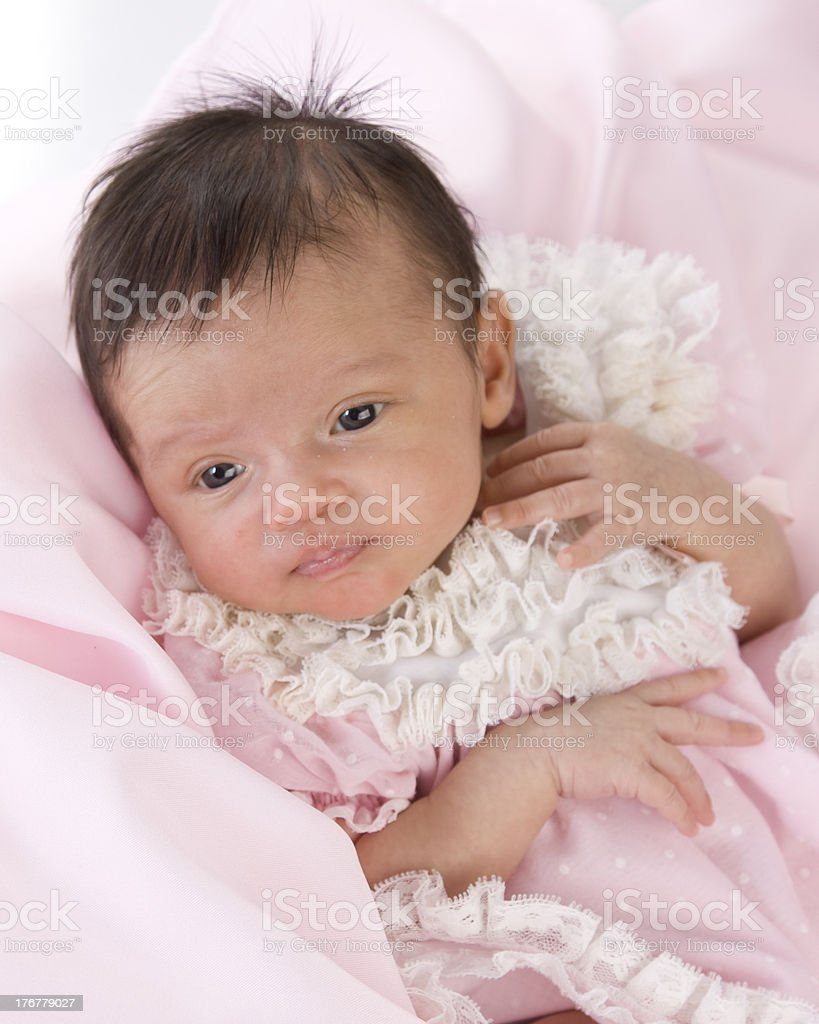 Mixed Race Baby Girl in Pink and Lace royalty-free stock photo