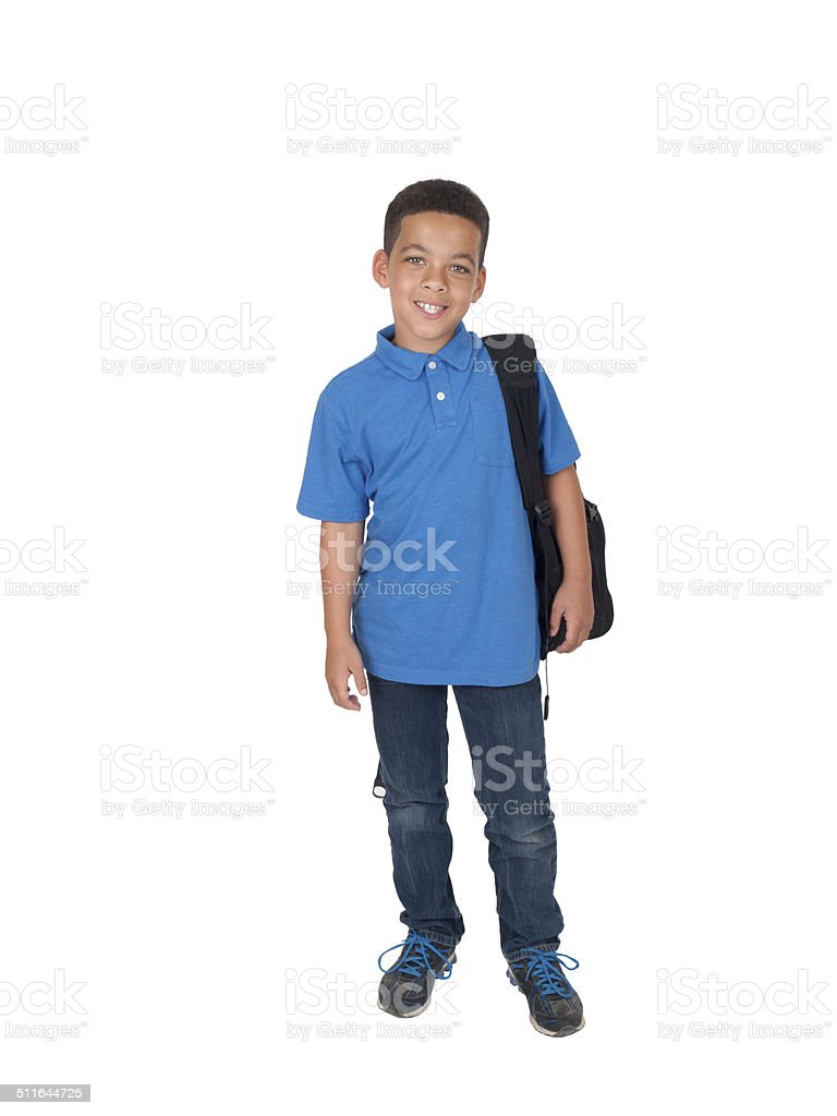 Mixed race boy with back pack stock photo