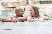 Mixed race couple on romantic vacation