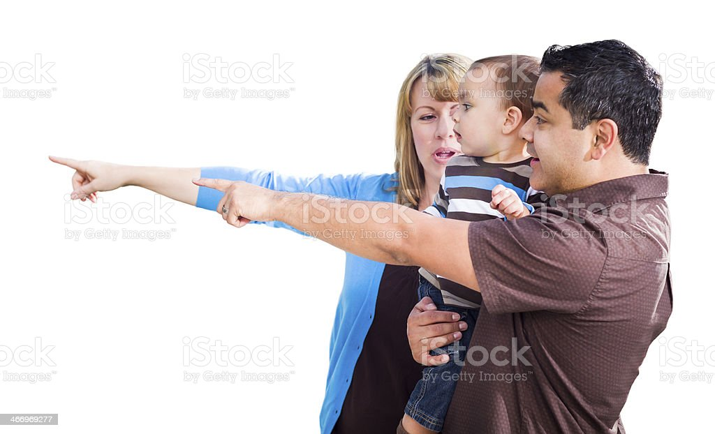 Mixed Race Couple Pointing With Son on White royalty-free stock photo