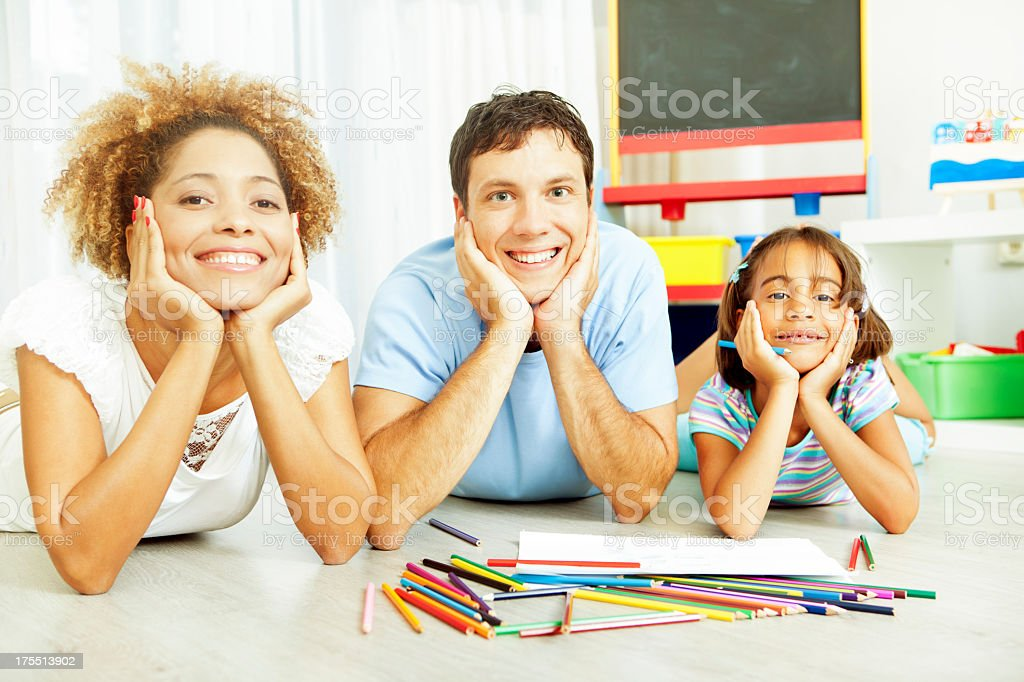 Mixed Race Family Coloring and Drawing. royalty-free stock photo