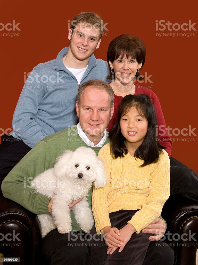 mixed race family portrait royalty-free stock photo