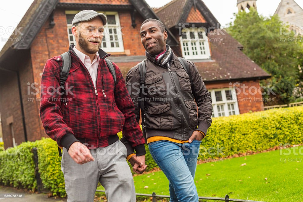 Mixed Race Gay Couple Walking in a Public Park stock photo