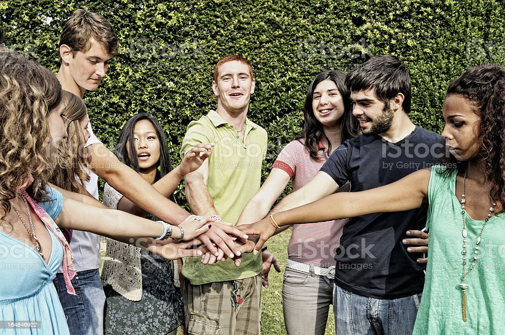 Mixed Race Group Students Hands Clasped royalty-free stock photo