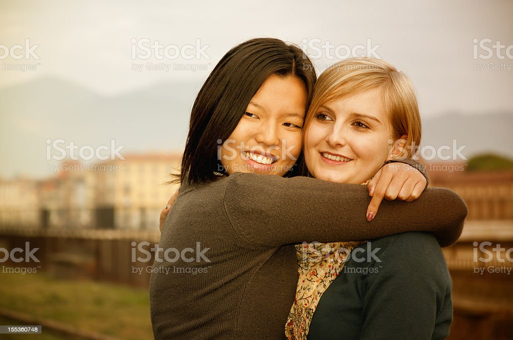 Mixed Race Lesbian Couple Embracing royalty-free stock photo