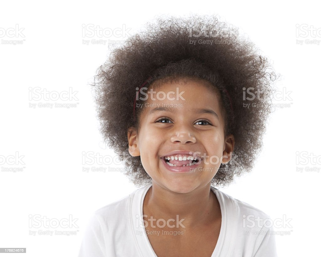 Mixed Race Little Girl with a Big Smile Closeup Headshot royalty-free stock photo