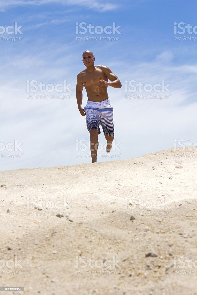 Mixed race male jogging royalty-free stock photo