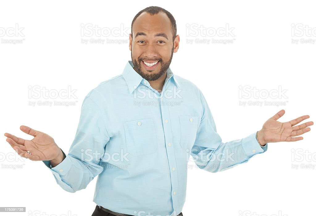 Mixed Race Man With Arms Out royalty-free stock photo