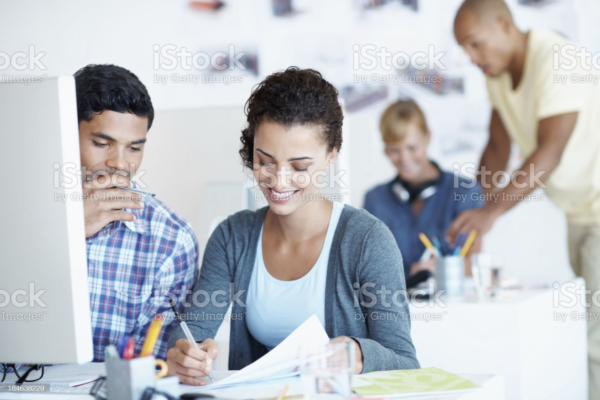 Mixed race people working together royalty-free stock photo