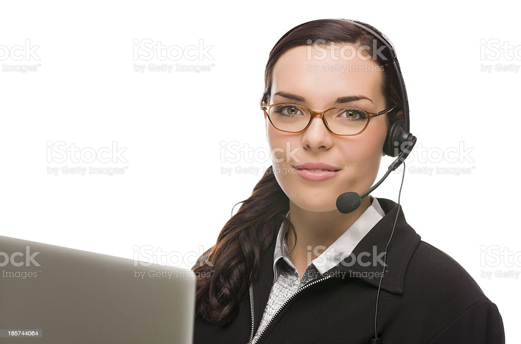 Mixed Race Receptionist In Front of Computer Wearing Phone Head- royalty-free stock photo