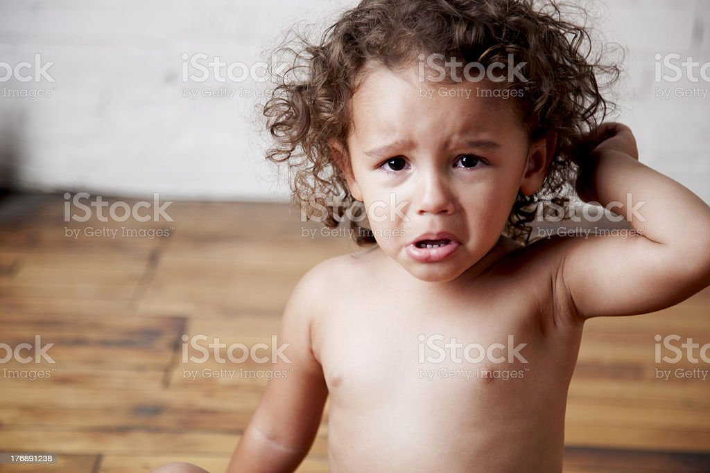 Mixed Race Toddler Girl is Angry and Crying stock photo
