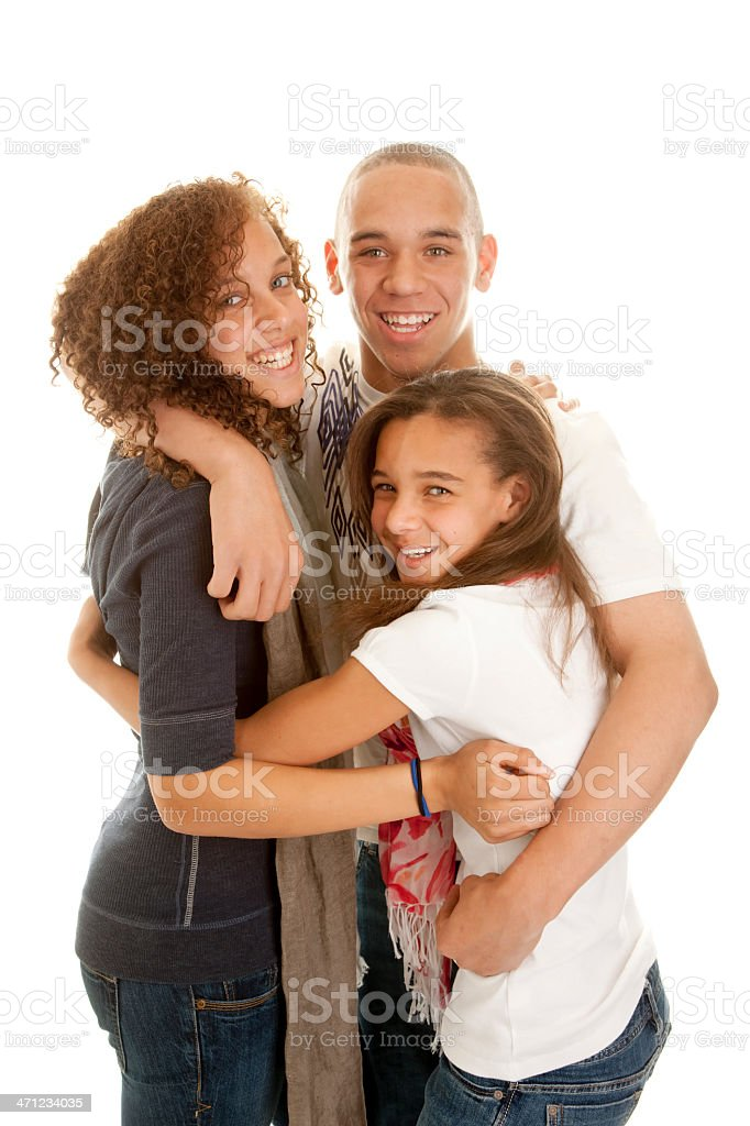 Mixed RaceBrother and Sisters Hug stock photo