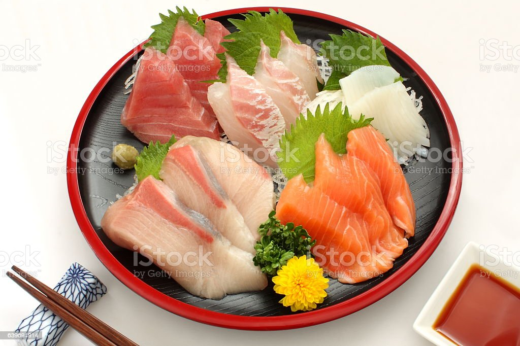 Mixed Raw Fish Sashimi Platter on Lacquer Ware , Japanese food stock photo