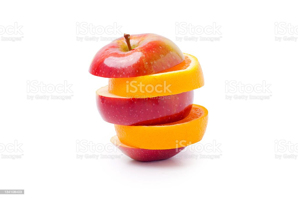 Mixed red apple and orange stock photo