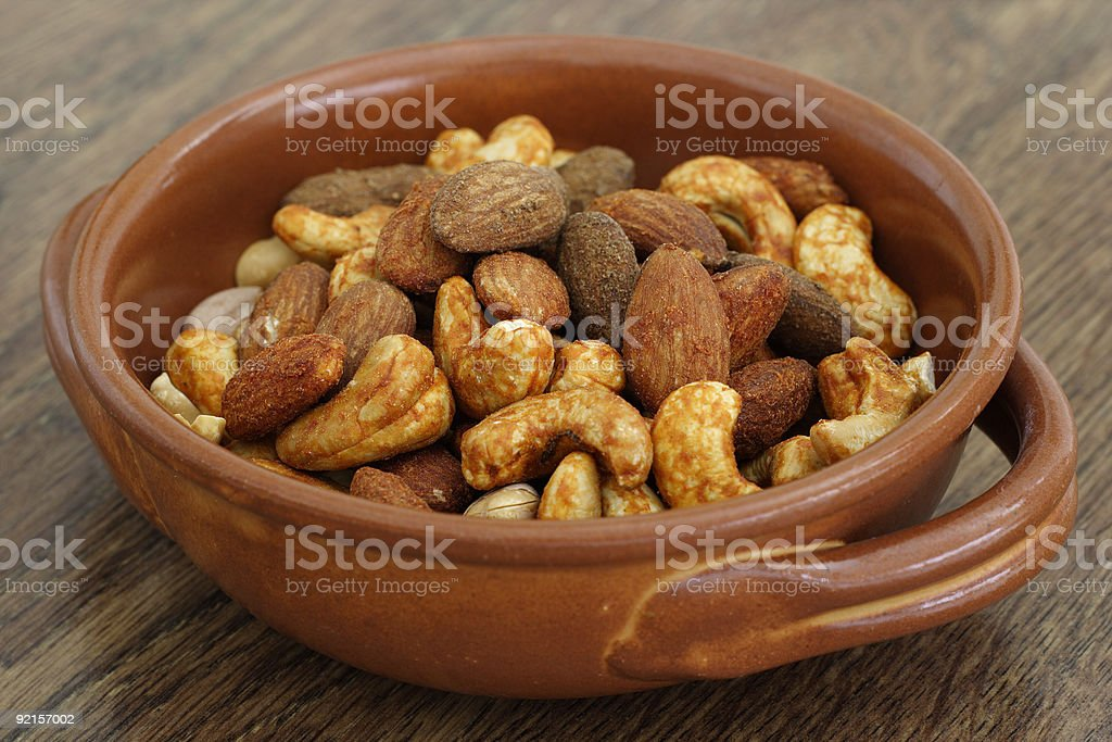 Mixed roasted nuts royalty-free stock photo