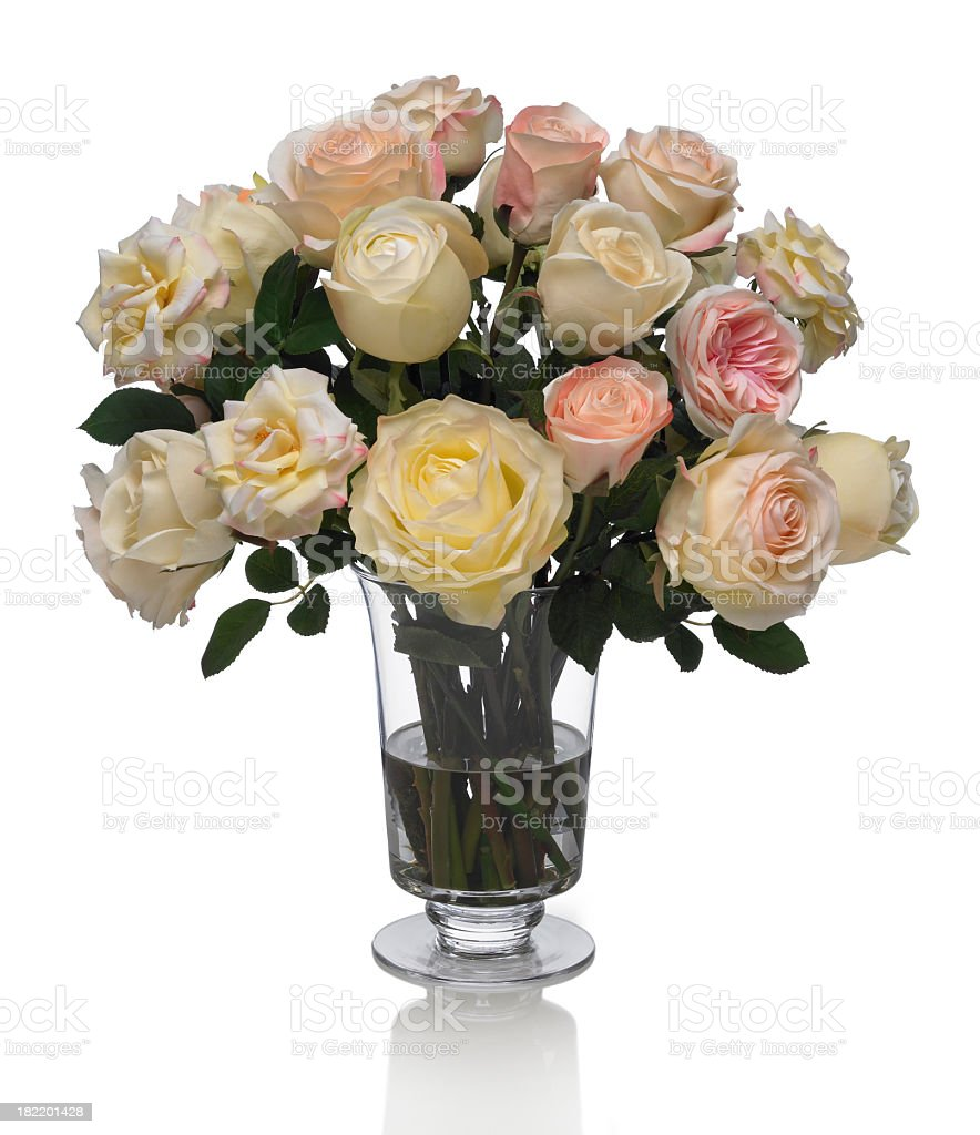 Mixed Rose Bouquet with white background royalty-free stock photo