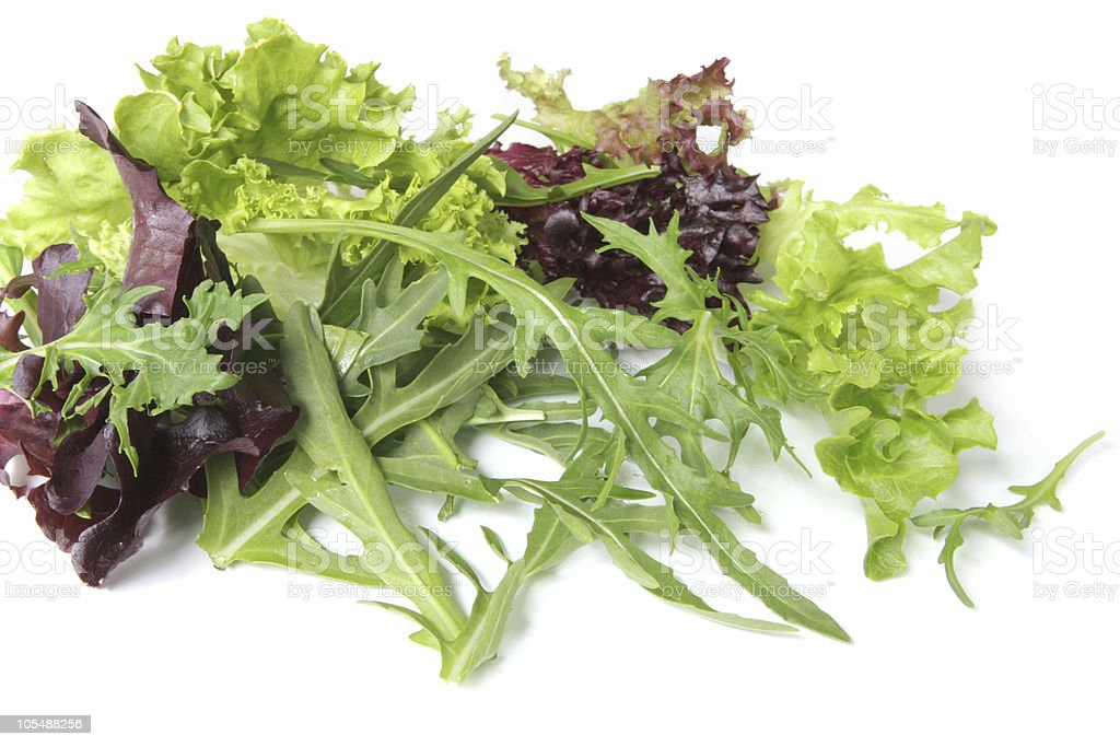 Mixed salad greens closeup with white background stock photo