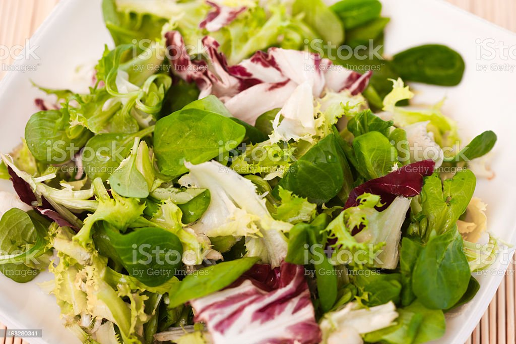 mixed salad leaves stock photo