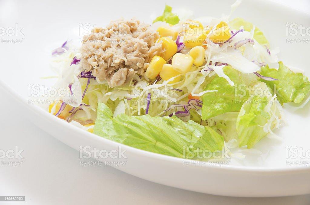 Mixed salad of corn and tuna royalty-free stock photo