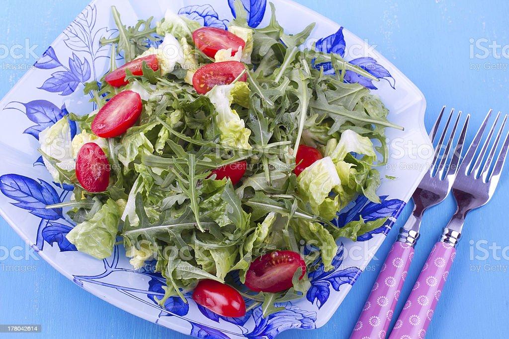 Mixed salad with ruccola, close up royalty-free stock photo