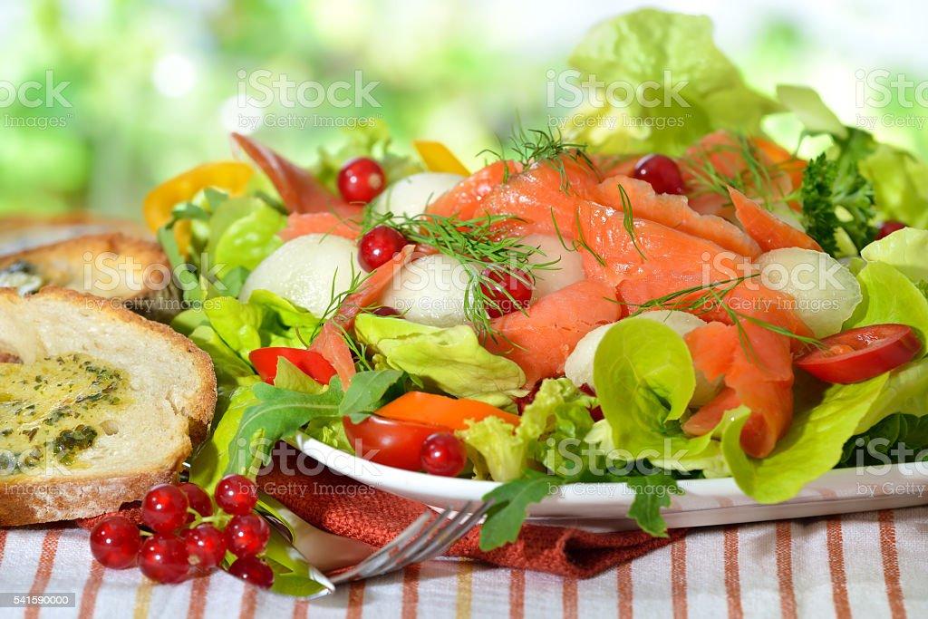 Mixed salad with salmon stock photo