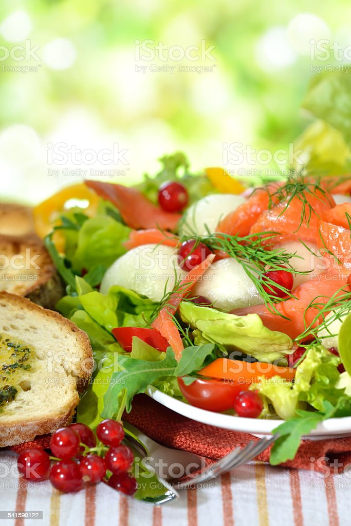 Mixed salad with salmon stock photo