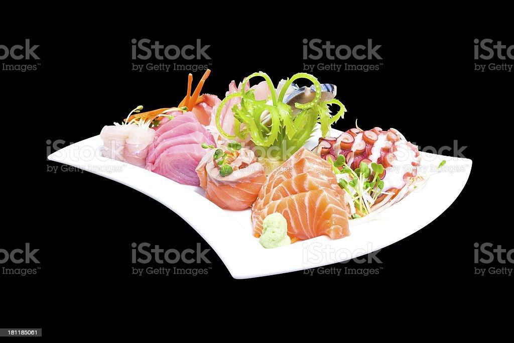 Mixed sashimi in white plate royalty-free stock photo