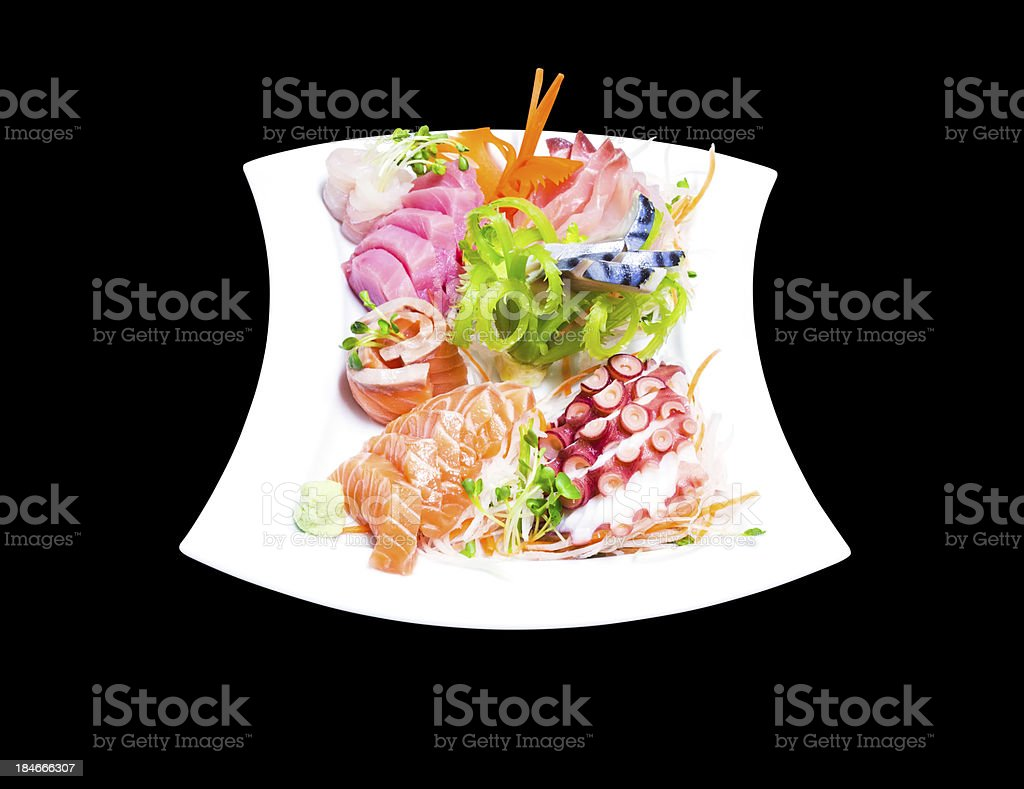 Mixed sashimi in white plate royalty-free stock photo