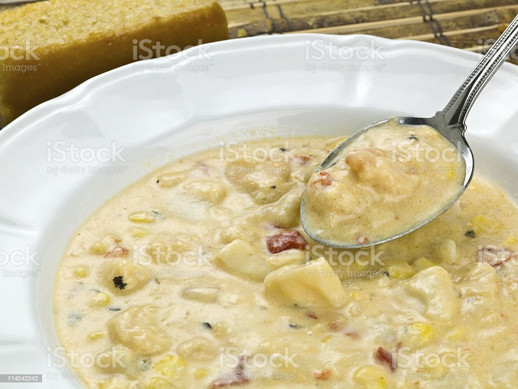 Mixed Seafood Corn Clam Chowder stock photo