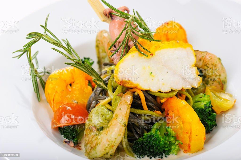 Mixed Seafood on Pasta stock photo