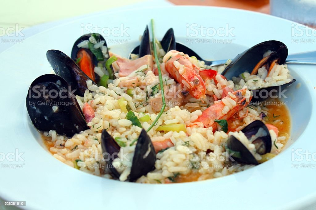 Mixed seafood risotto stock photo