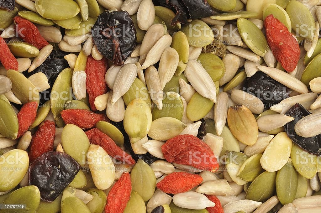 Mixed seed and fruit background royalty-free stock photo