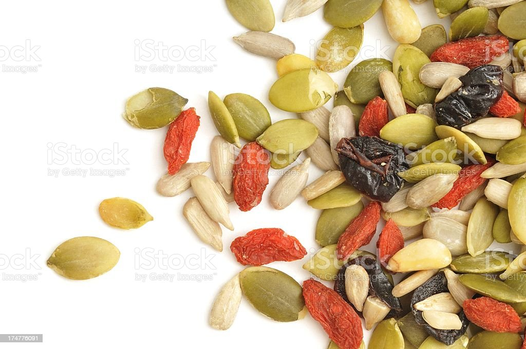 Mixed seed and fruit scattered royalty-free stock photo