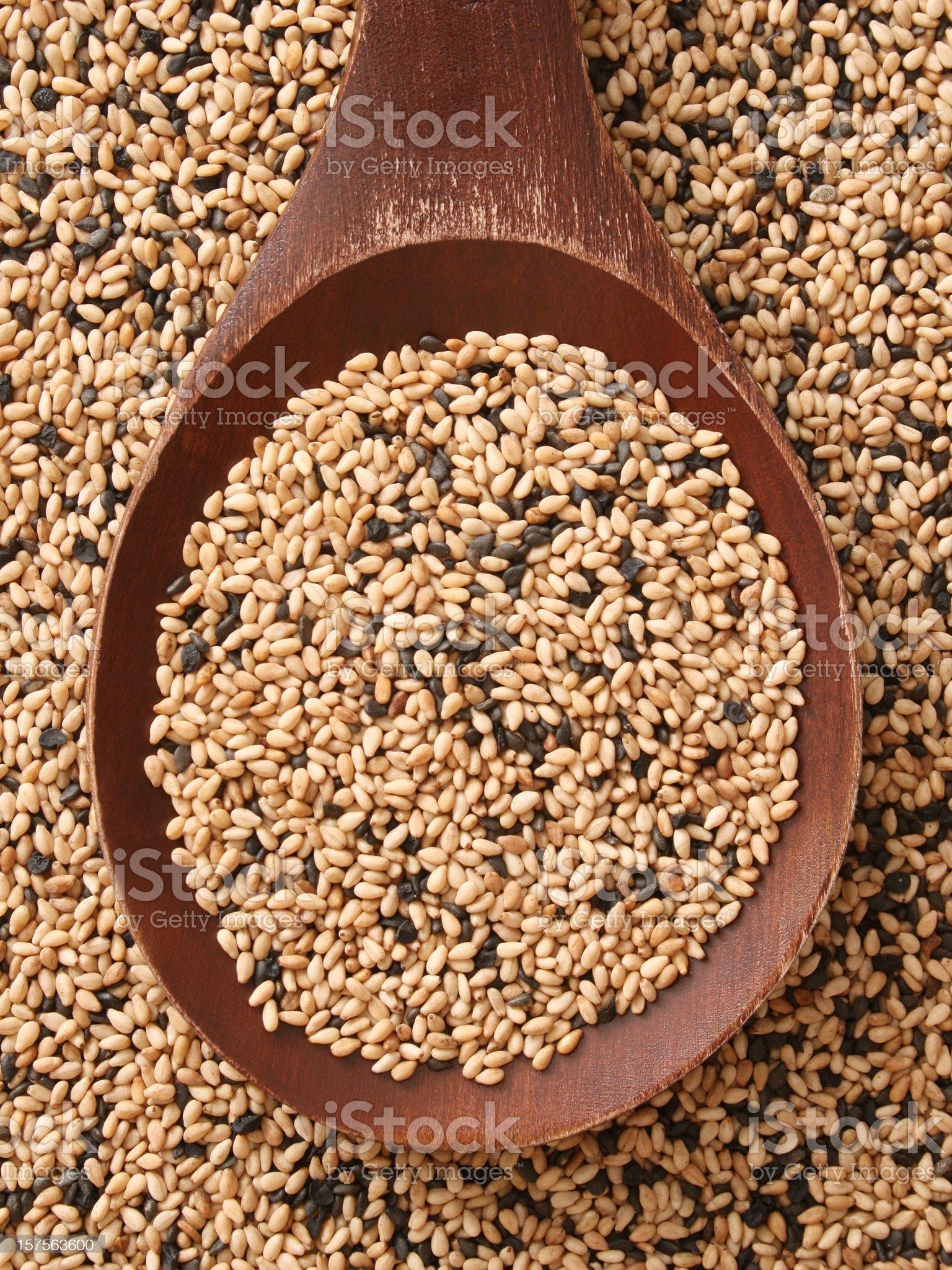 Mixed sesame seeds royalty-free stock photo