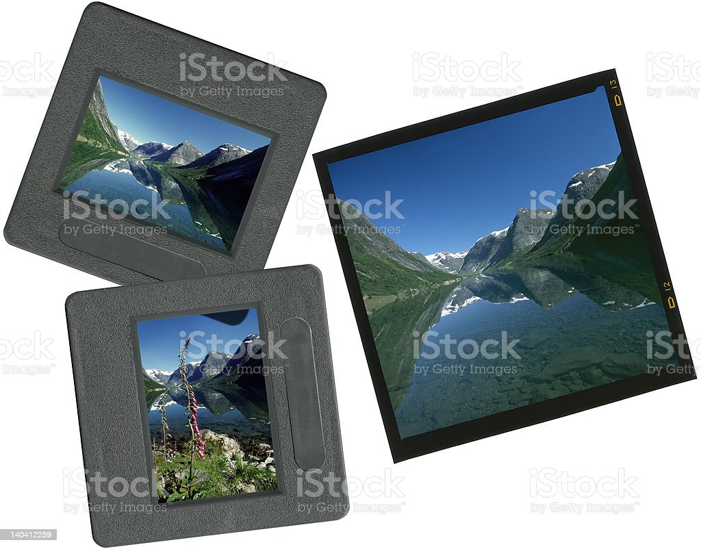 Mixed slides on lightbox - summer scenes royalty-free stock photo