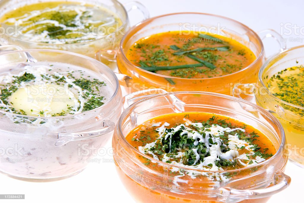 mixed soups stock photo