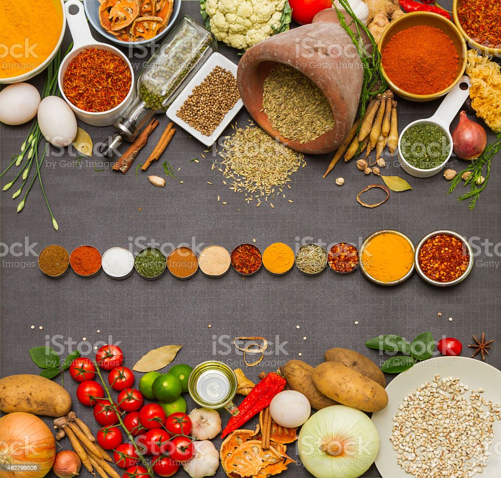 Mixed spices and herbs for cooking. stock photo